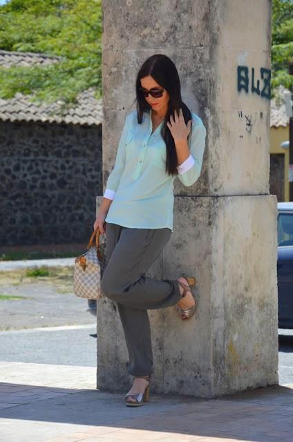 DSC_0208 Pantaloni alla turca e camicia color menta Sumissura