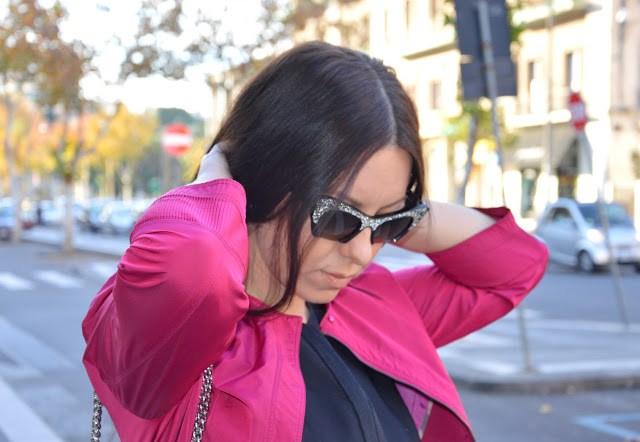 DSC_0077 Cappotto fucsia Burberry, borsa Michael Kors, occhiali da sole Miu Miu