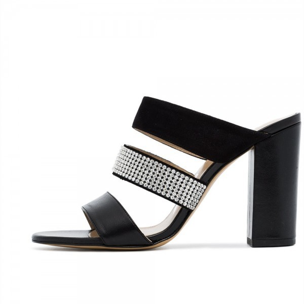 black_rhinestone_tri_straps_chunky_heel_mules_sandals_2_ Block heels trend