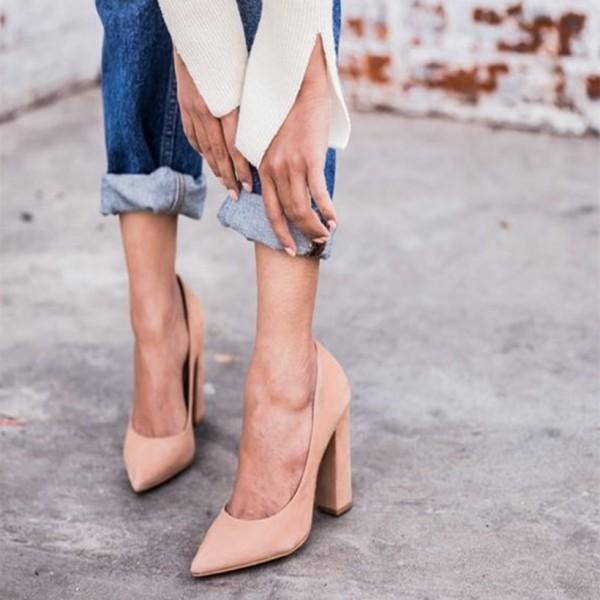 blush_pointed_toe_suede_chunky_heels_pumps_for_office_ladies Block heels trend