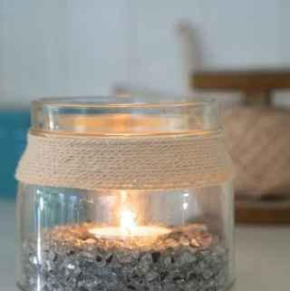 DIY Coastal Candle from Recycled Jars!