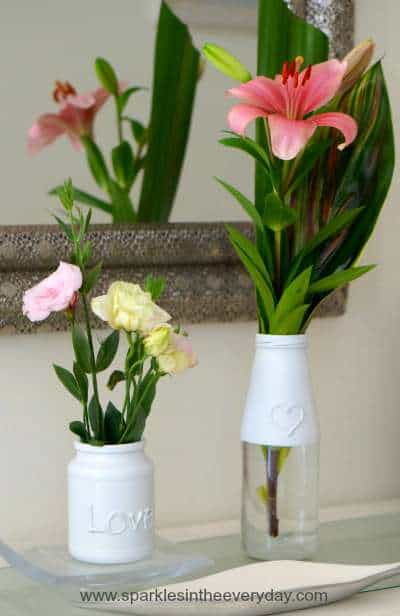 Flowers in recycled bottles
