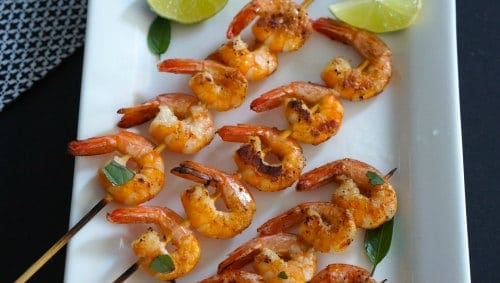 Coconut and Lime BBQ Prawns ready to eat