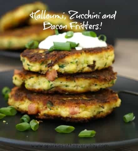 Easy Halloumi, Zucchini and Bacon Fritters! (GF)