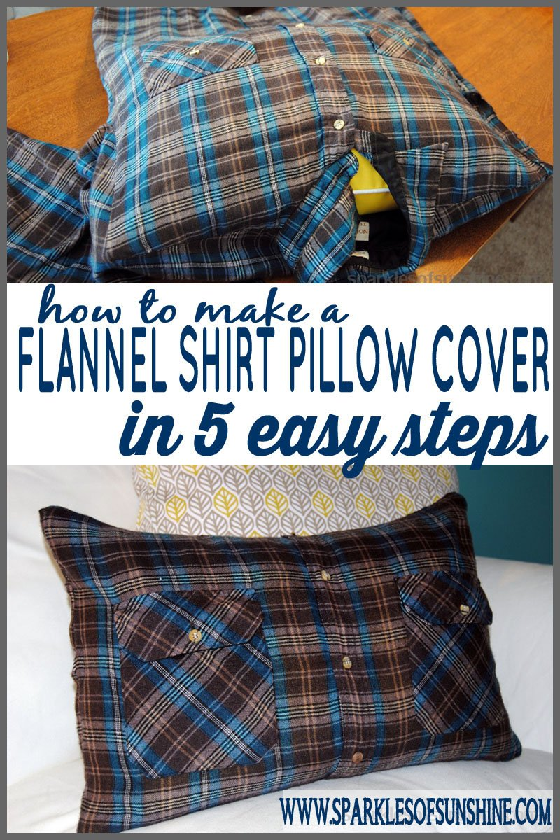 flannel shirt pillow in 5 easy steps