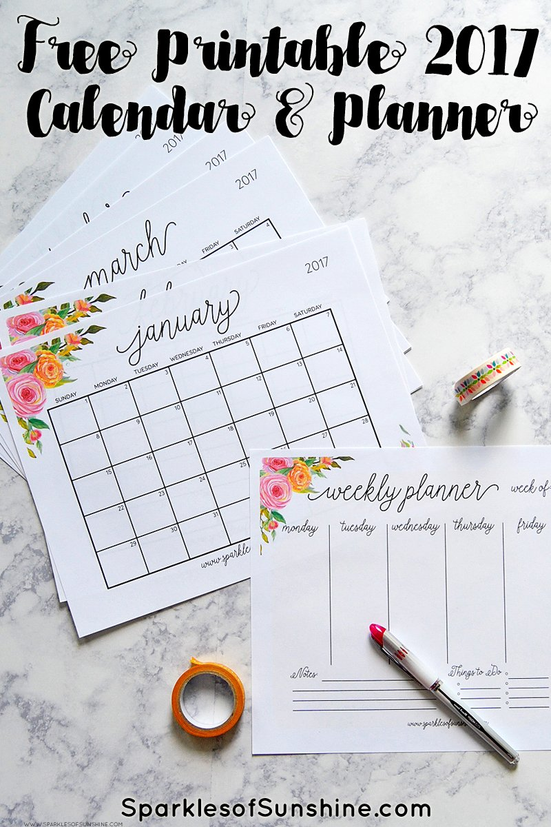 Stay organized with this free printable 2017 calendar and weekly planner.