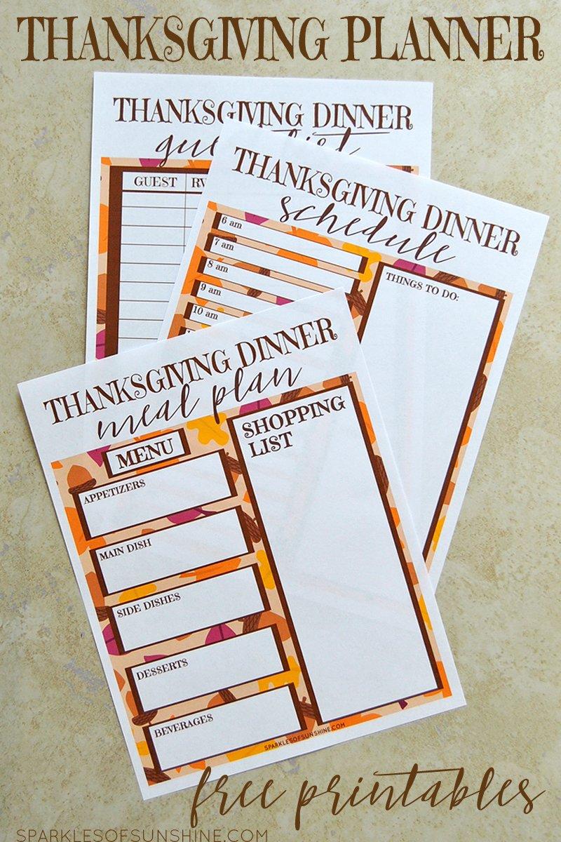 Thanksgiving Planner Free Printables Sparkles Of Sunshine