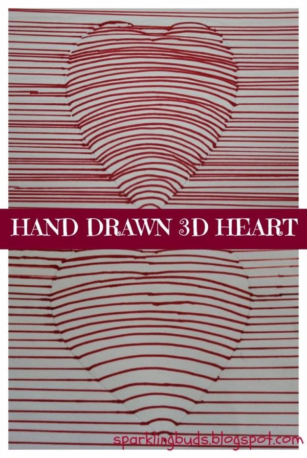 Hand drawn 3D heart - Valentine's day craft - sparklingbuds