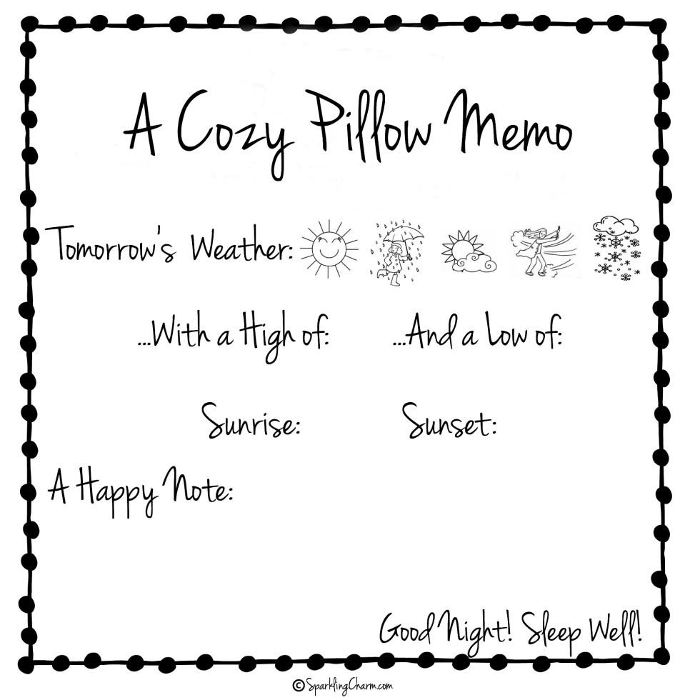 Sparkling Charm Cozy Pillow Memo Cards (Free Printable)