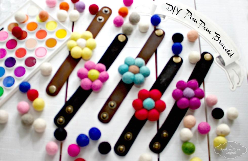 IY Wool Pom Pom Flower Bracelet