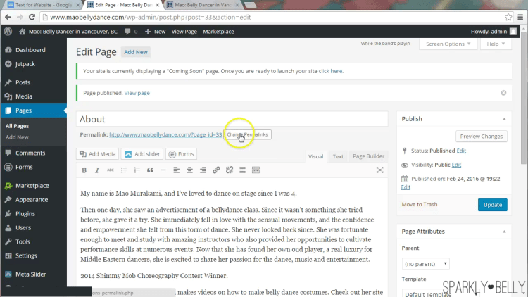 how to change permalink in wordpress home page