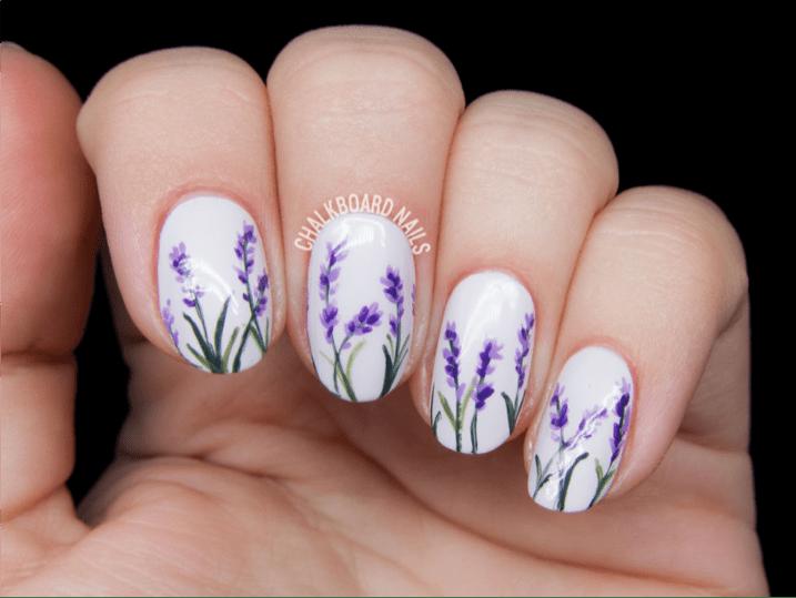 Fl Nail Art 3 Lavender Design