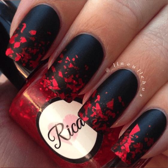 Nail Art Dark Red Gold Details Designs For Short Nails