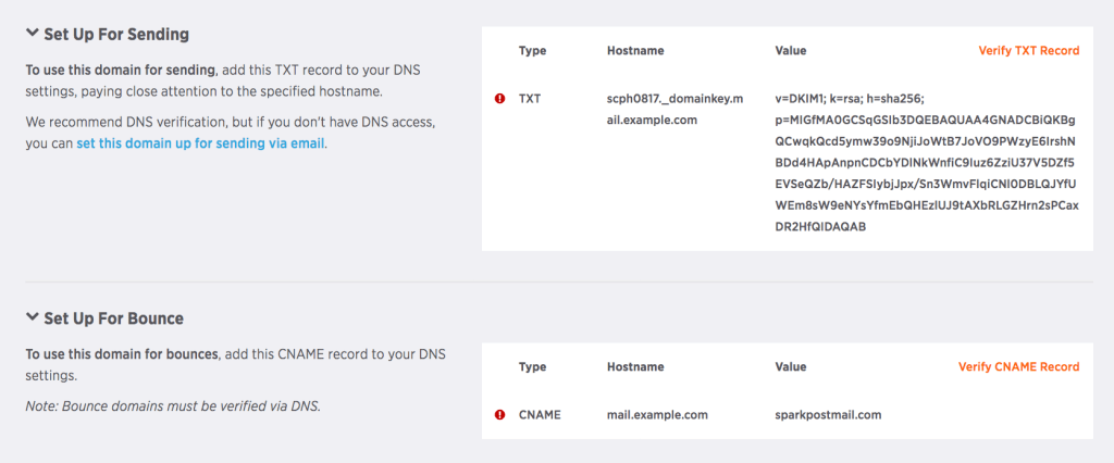 Domain DNS verification section