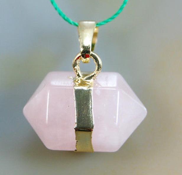 Natural Rose Quartz Prism Reiki Chakra Pendant with DNA Activation