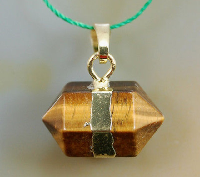Natural Yellow Tigers Eye Prism Reiki Chakra Pendant With DNA Activation