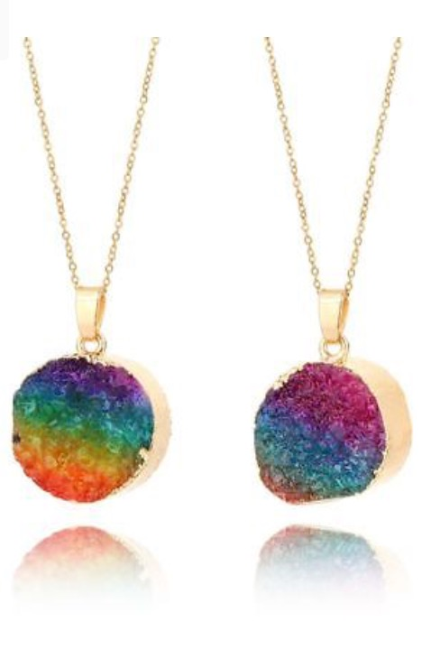 Rainbow Crystal Pendant Necklace Encoded WithReiki Energy