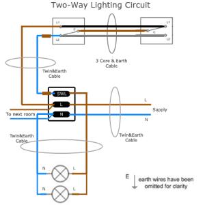 TwoWay Lighting Circuit Wiring | SparkyFactscouk