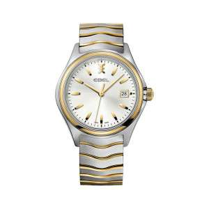 Heren horloge uit de Ebel Wave collection -uitgevoerd met een bicolour band en kast en een zilverkleurige wijzerplaat - dit model is voorzien van een automatisch uurwerk - De Ebel collectie is verkrijgbaar bij Sparnaaij Juweliers in Aalsmeer