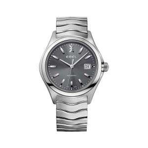 Heren horloge uit de Ebel Wave collection - uitgevoerd met een automatisch uurwerk, ee, stalen kast en band en waterdicht tot 50 meter - dit model is voorzien van een grijze wijzerplaat - De Ebel collectie is verkrijgbaar bij Sparnaaij Juweliers in Aalsmeer