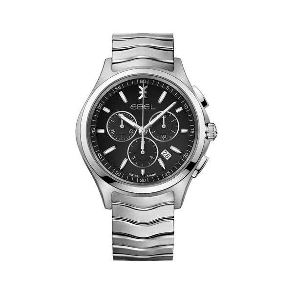 Heren horloge uit de Ebel Wave chronograph collection - uitgevoerd met stalen band en kast, een zwarte wijzerplaat en chronograph - waterdicht tot 50 meter - De Ebel collectie is verkrijgbaar bij Sparnaaij Juweliers in Aalsmeer