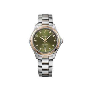 Dames horloge uit de Ebel Discovery Lady collection - uitgevoerd met een bicolour band en kast en een groene wijzerplaat - De Ebel collectie is verkrijgbaar bij Sparnaaij Juweliers in Aalsmeer