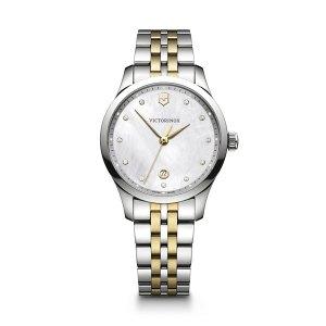 Dames horloge uit de Victorinox Alliance Small collection - uitgevoerd met een bicolour band en een stalen kast - voorzien van een quartz uurwerk en een Parelmoer wijzerplaat - De Victorinox collectie is verkijgbaar bij Sparnaaij Juweliers in Aalsmeer