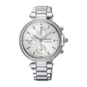 Dames horloge uit de Seiko collectie - uitgevoerd met een stalen kast en band en voorzien van Swarovski kristallen op de lunette - dit model heeft een quartz uurwerk met een chronograph functie - De Seiko collectie is verkrijgbaar bij sparnaaij Juweliers in Aalsmeer en hoofddorp