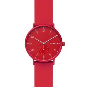 Skagen horloge met rode siliconen band en rode wijzerplaat - Te koop bij Sparnaaij Juweliers in Hoofddorp