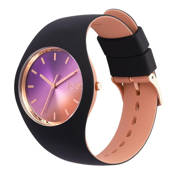 Ice-Watch horloge met zwarte siliconen band en roségoudkleurige wijzerplaat - Te koop bij Sparnaaij Juweliers in Aalsmeer