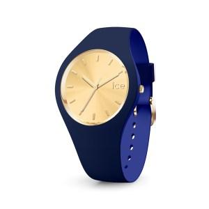 Ice-Watch horloge met blauw siliconen band en gouden wijzerplaat - Te koop bij Sparnaaij Juweliers in Aalsmeer