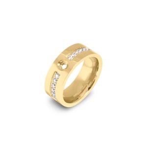 Goudkleurige Melano twisted flat cz ring met zirkonia steentjes - Te koop bij Sparnaaij Juweliers in Aalsmeer en Hoofddorp