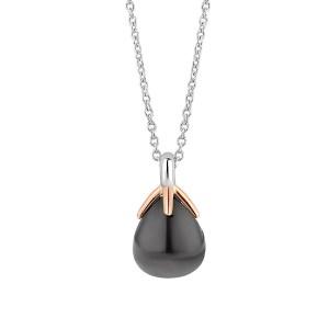 Ti Sento flowerbud collier in het grijsblauw - Te koop bij Sparnaaij Juweliers in aalsmeer en Hoofddorp