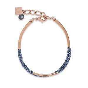 roségouden armband stalen armband met blauw glas geslepen steentjes van Coeur de Lion - Te koop bij Sparnaaij juweliers in Hoofddorp