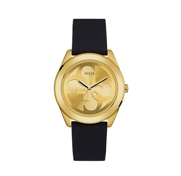 Guess dameshorloge W0911L3 goudkleurig met zwarte siliconen band - Te koop bij Sparnaaij Juweliers