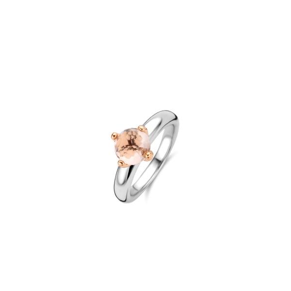 Zilveren ring met roze doorzichtige steen van Ti Sento - Te koop bij Sparnaaij Juweliers in Aalsmeer of Hoofddorp