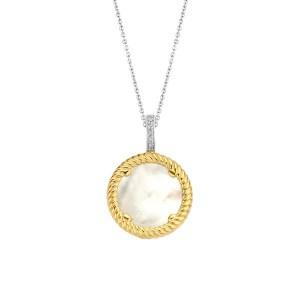18k goud vergulde hanger met aan beide kanten parelmoer schep - Te koop bij Sparnaaij Juweliers in Aalsmeer en Hoofddorp