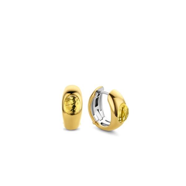 Iconische zilveren creolen met 18k goud laag en gele citrien kleurige stenen - Te koop bij Sparnaaij Juweliers in Aalsmeer en Hoofddorp