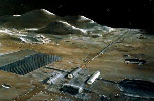 A railgun in a long tube on the Moon. (Nasa)