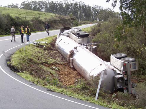 Historic irony as milk truck overturns in Marshall