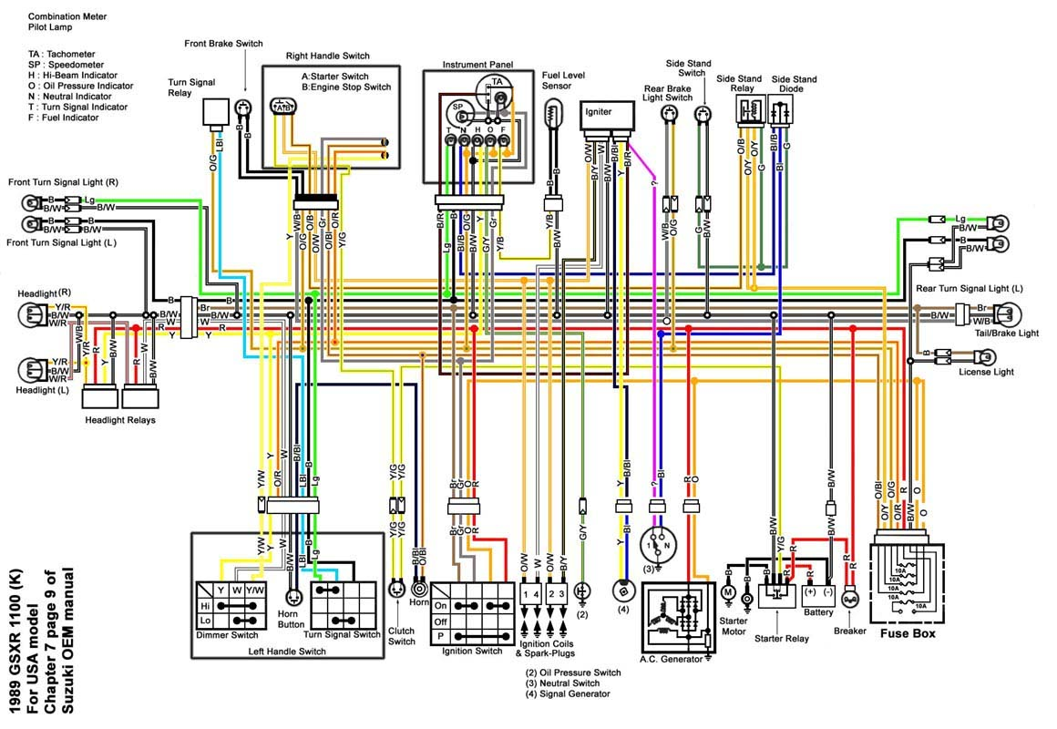 gsxr 1100 wiring diagram gsxr 1100 parts wiring diagram