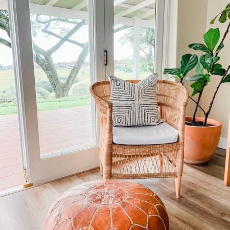 Mud cloth pillow on chair
