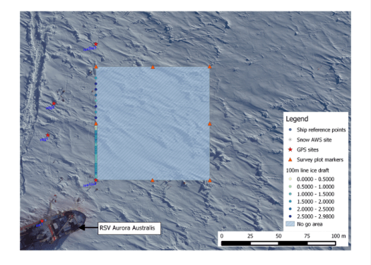 A local coordinate system map of on-ice activities at SIPEX 2 ice station 3.