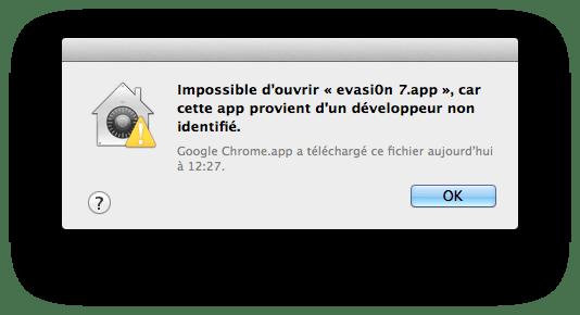 Impossible ouvrir app developpeur non identifie