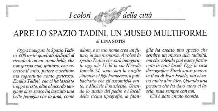 Spazio Tadini - articolo di Lina Sotis Corriere della Sera