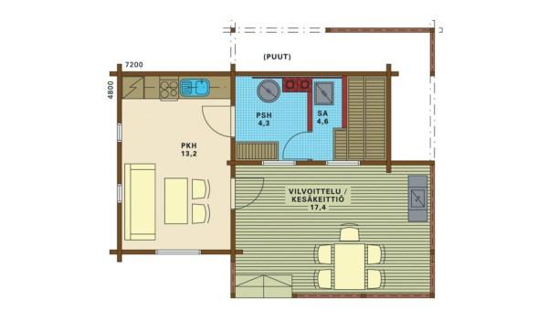 Проект дома-бани ELVIIRA 25 дом с террасой Планировка и фото