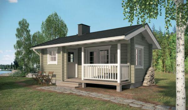 Проект дома-бани SILMU 25 дом с террасой Планировка и фото