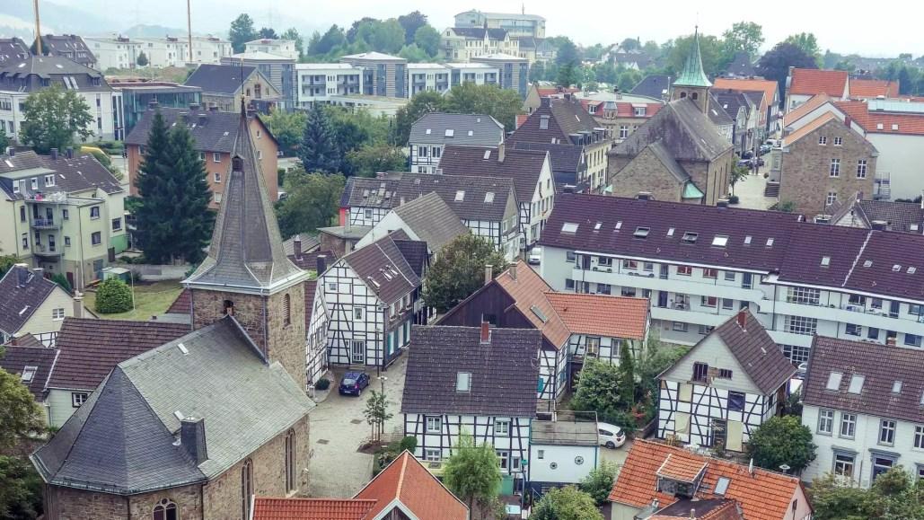 Rundblick über den Hattinger Ortsteil Blankenstein von der Burg Blankenstein aus