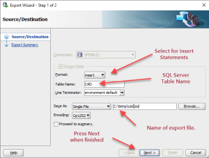 Make sure to export INSERT statements and set the SQL Server table name, and the export sql file.