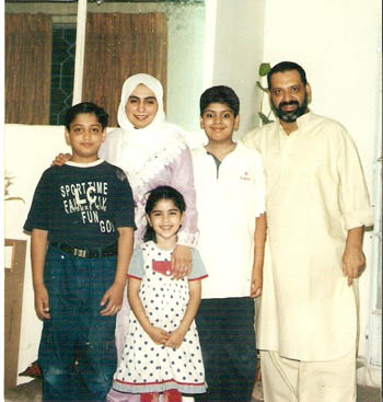 Amina with her husband Masood Janjua and Chidren